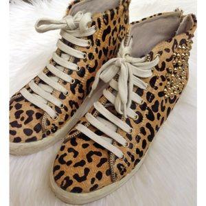 Zara imitation calf hair sneakers with studs
